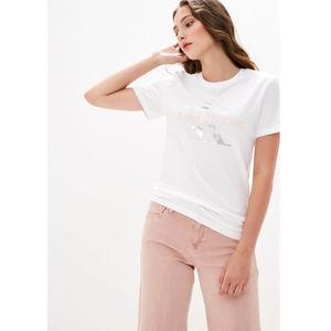 Calvin Klein dámské bílé tričko Metallic