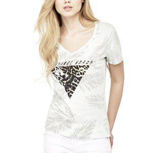 da9fd94fe4 Guess dámské bílé tričko s potiskem - S (FT01)
