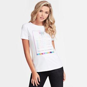 Guess dámské bílé tričko Rainbow Logo - XS (TWHT)